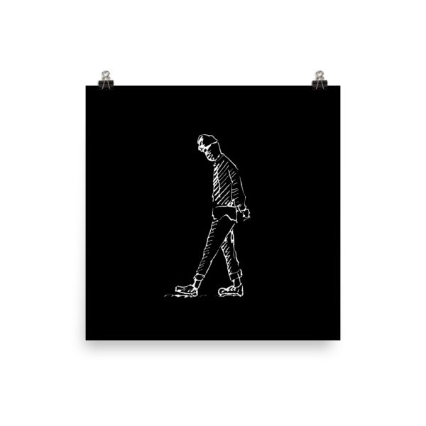Man Deep in Thought Drawing Poster Print Wall Art