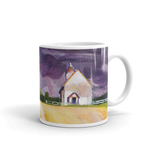Cottage, Purple Sky and Yellow Fields 11oz Ceramic Coffee Mug