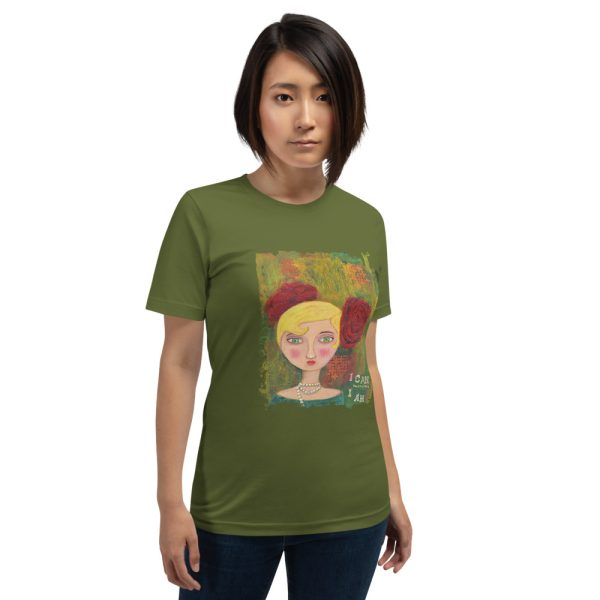 Woman wearing olive green tshirt | Mixed Media Lady Quote T-shirt