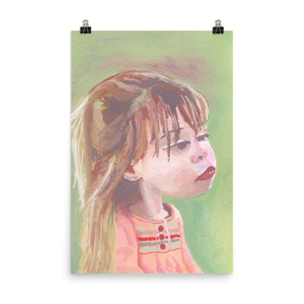 Little Girl in Pink Dress, Portrait Painting, Poster Print Wall Art
