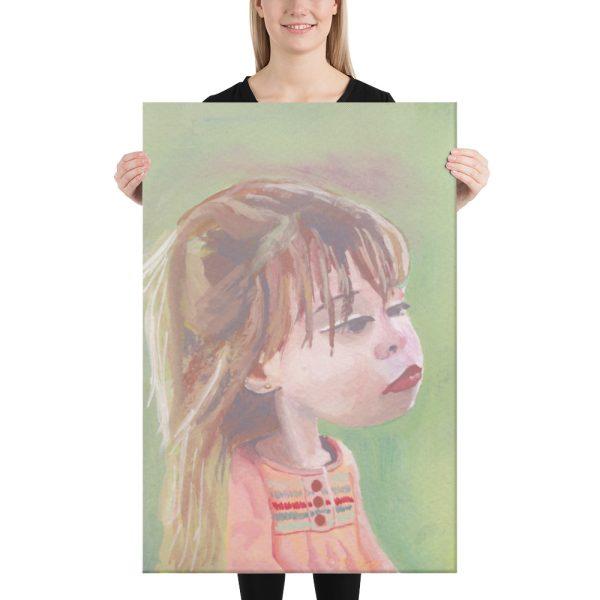 Girl in Pink Dress Canvas Print Wall Art