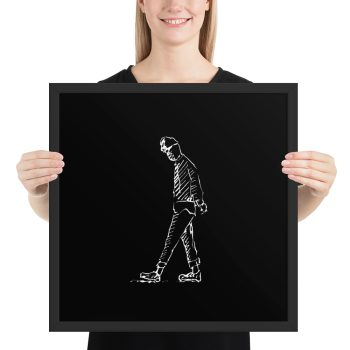 Man Deep in Thought Drawing Framed Print Wall Art