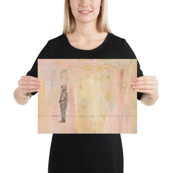 Social Distance Standing with Mask Painting, Poster Print Wall Art