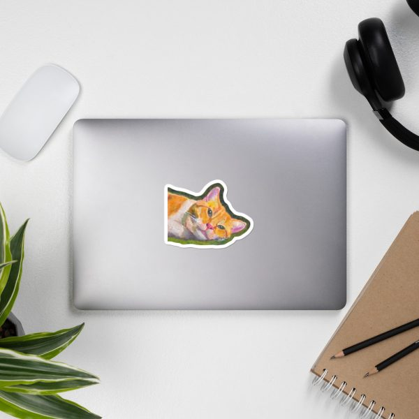 Ginger Tabby Cat Relaxes Sticker | 4 x 4 inch Kiss Cut Vinyl Sticker