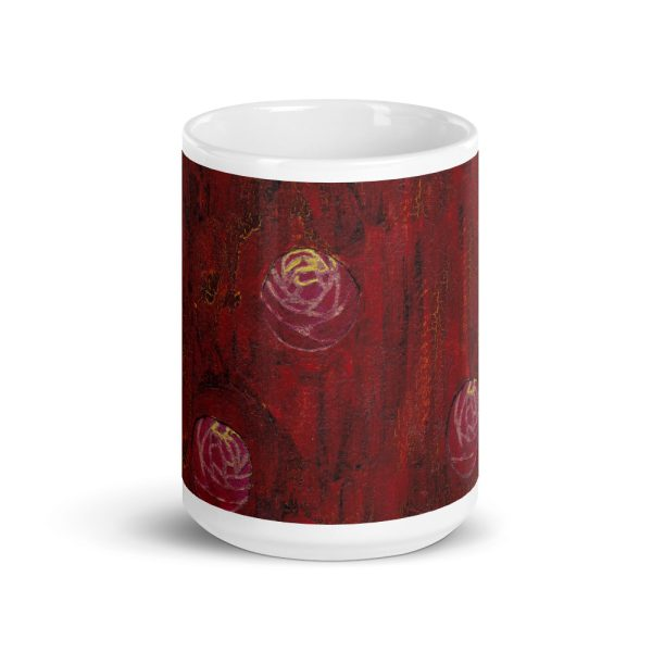 Red Mixed Media Texture 15oz Ceramic Coffee Mug