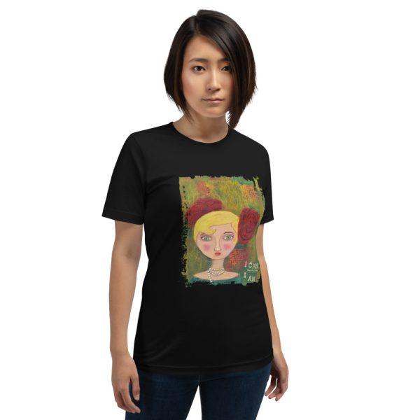Woman wearing black tshirt | Mixed Media Lady Quote T-shirt