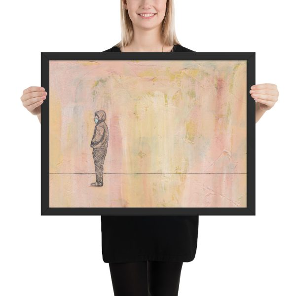Social Distance Standing with Mask Painting, Framed Print Wall Art