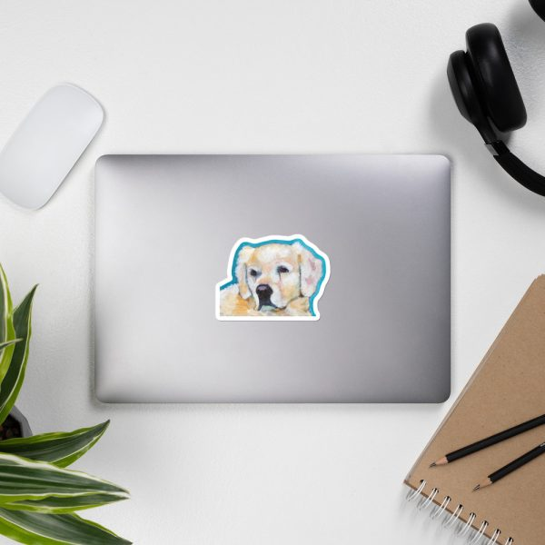 White Puppy Sticker | 4 x 4 inch Kiss Cut Vinyl Sticker