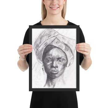 African Woman in Head Tie, Portrait Painting, Framed Print Wall Art