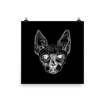 Sphynx Cat Drawing Poster Print Wall Art