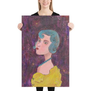 Lady with Blue Curls, Mixed Media Painting, Poster Print Wall Art