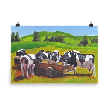 Cows Feeding from Trough Painting Poster Print Wall Art