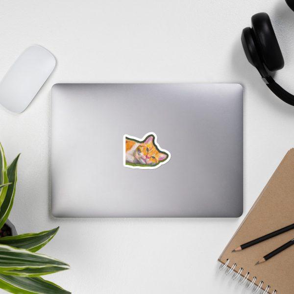 Ginger Tabby Cat Relaxes Sticker | 3 x 3 inch Kiss Cut Vinyl Sticker