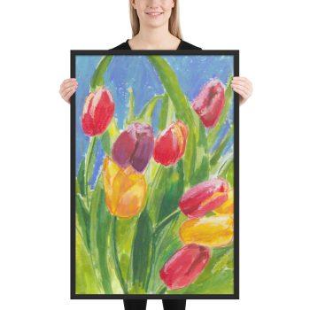 Colourful Tulips Framed Print Wall Art