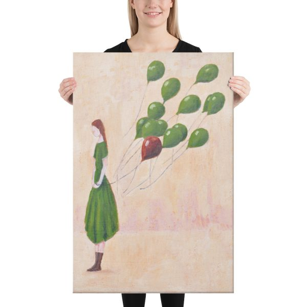 Girl with Green Balloons Canvas Print Wall Art