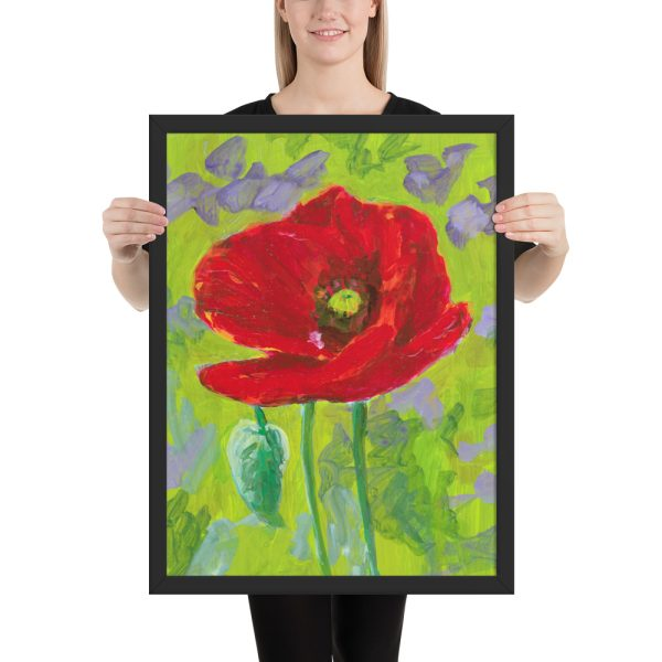Red Poppy Flower Painting Framed Print Wall Art
