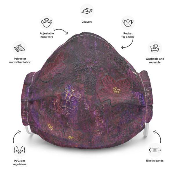 Purple Mixed Media Texture Face Mask