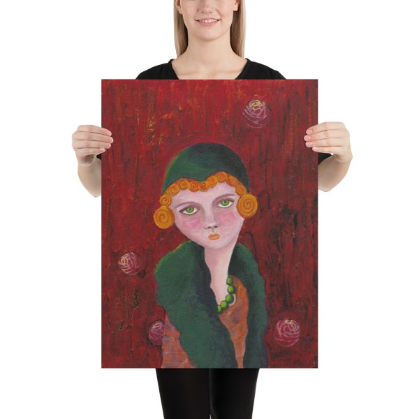 Lady with Orange Curls, Mixed Media Painting, Poster Print Wall Art