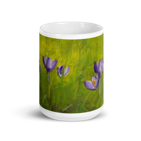 Purple Crocus Flowers in Green Grass 15oz Ceramic Coffee Mug