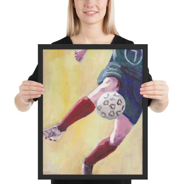 Footballer in Red Socks Framed Print Wall Art
