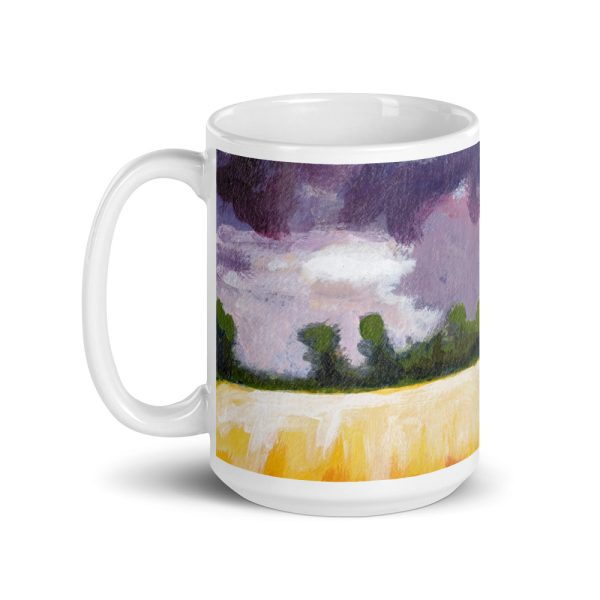 Cottage, Purple Sky and Yellow Fields 15oz Ceramic Coffee Mug