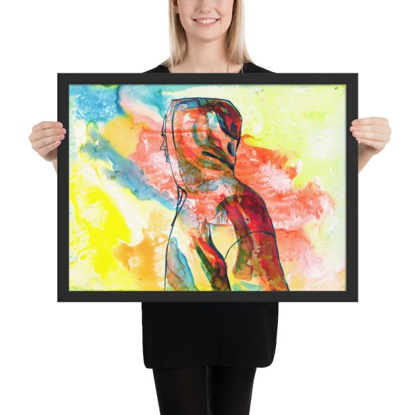 Over There, Ink Painting, Framed Print Wall Art