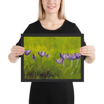 Crocus Flowers in Grass Painting Framed Print Wall Art