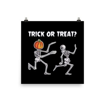 Trick or Treat Halloween Running Skeletons Poster Print Wall Art