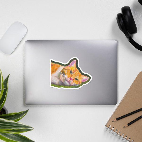Ginger Tabby Cat Relaxes Sticker | 5.5 x 5.5 inch Kiss Cut Vinyl Sticker