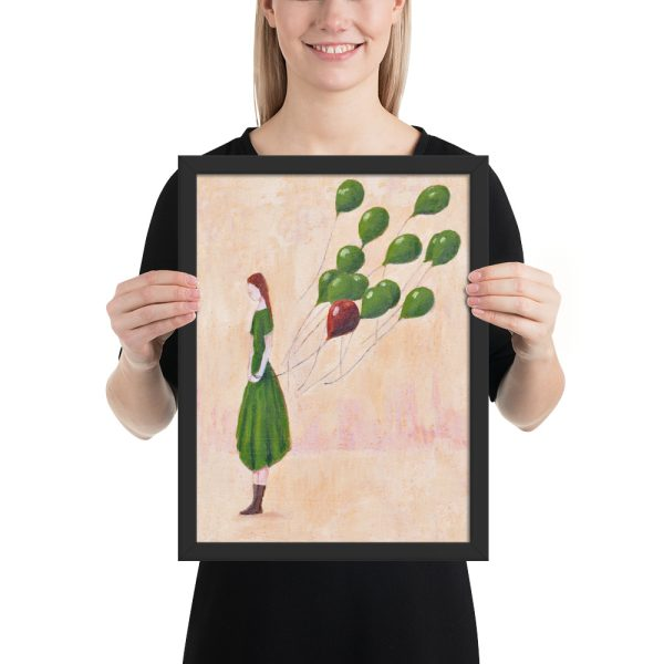 Girl with Green Balloons Painting, Framed Print Wall Art
