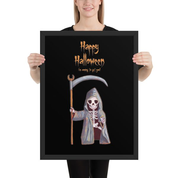 Dwarf Grim Reaper Happy Halloween Framed Print Wall Art