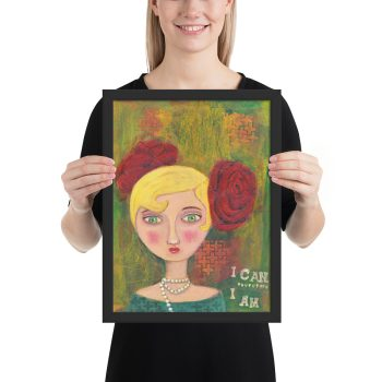 Mixed Media Lady, Portrait Painting, Framed Print Wall Art