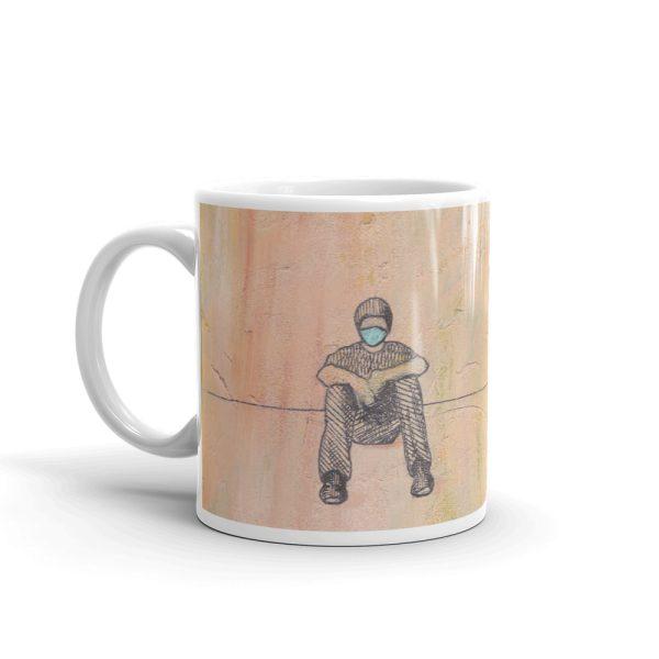 Social Distancing Sitting with Face Mask 11oz Ceramic Coffee Mug