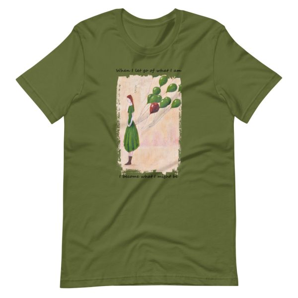 Olive green tshirt | Girl and balloons T-shirt