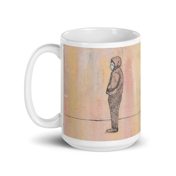 Social Distance Standing with Face Mask 15oz Ceramic Coffee Mug