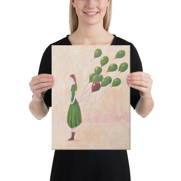 Girl and Green Balloons Canvas Print Wall Art