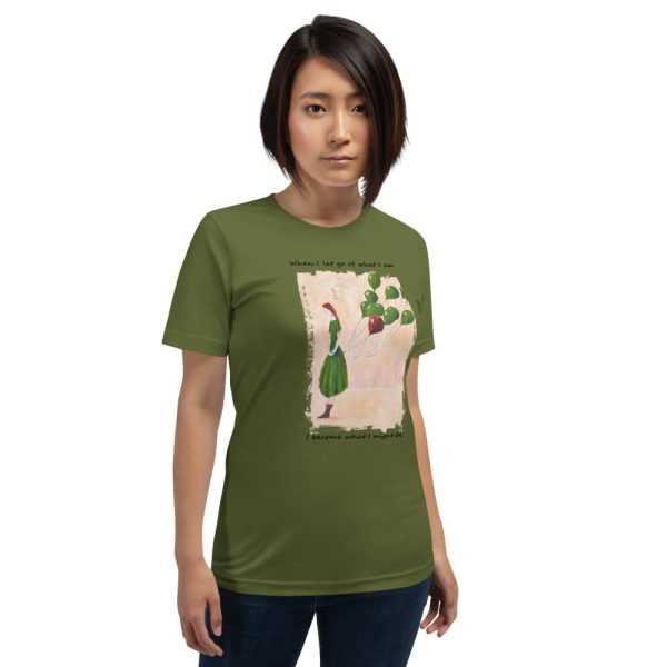 Woman wearing olive green tshirt | Girl and balloons T-shirt