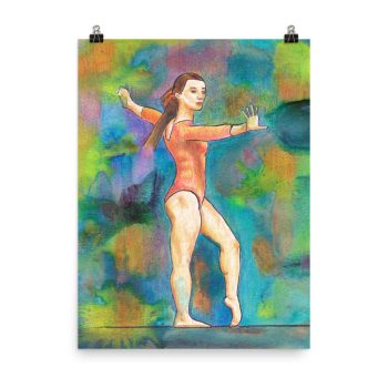 Gymnast on Print Painting Poster Print Wall Art