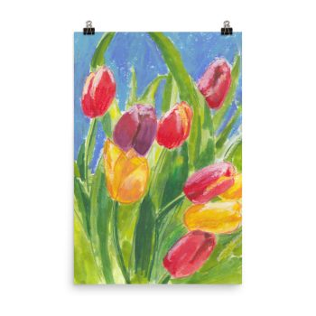 Colourful Tulips Poster Print Wall Art