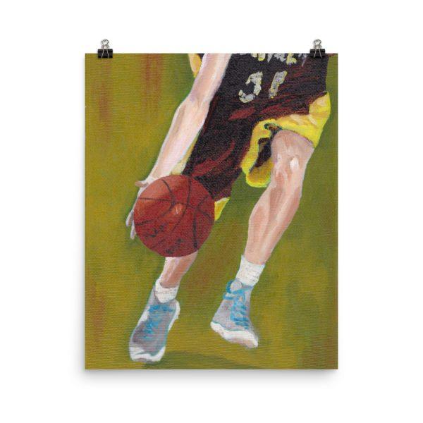 Basketball Player and Ball Poster Print Wall Art