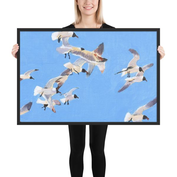 Flock of Seagulls Painting Framed Print Wall Art