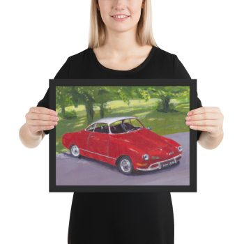 Classic Red Car in Greenwich Park Framed Print Wall Art