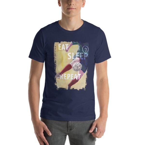 Man wearing navy blue tshirt | Eat Sleep Soccer Football Repeat T-shirt