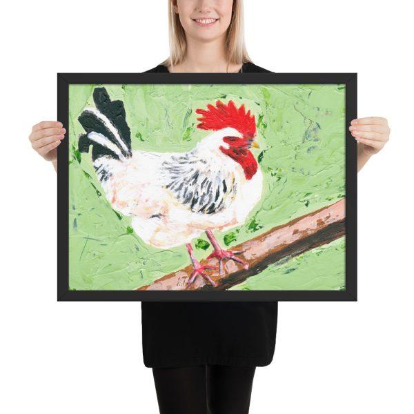 Cockerel on Green Painting Framed Print Wall Art