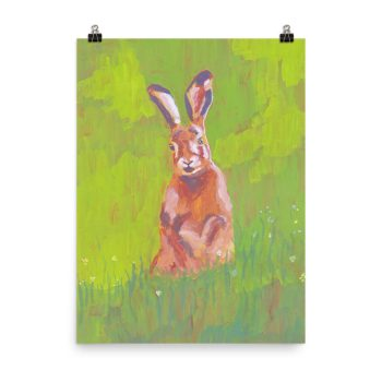 Red Rabbit in Green Grass Painting Poster Print Wall Art