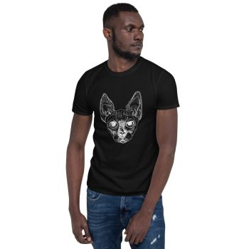 Man wearing black tshirt | Sphynx cat T-shirt