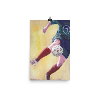 Footballer in Red Socks Poster Print Wall Art