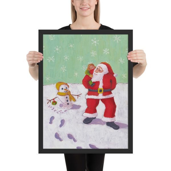 The Snowman's Xmas Present Painting Framed Print Wall Art
