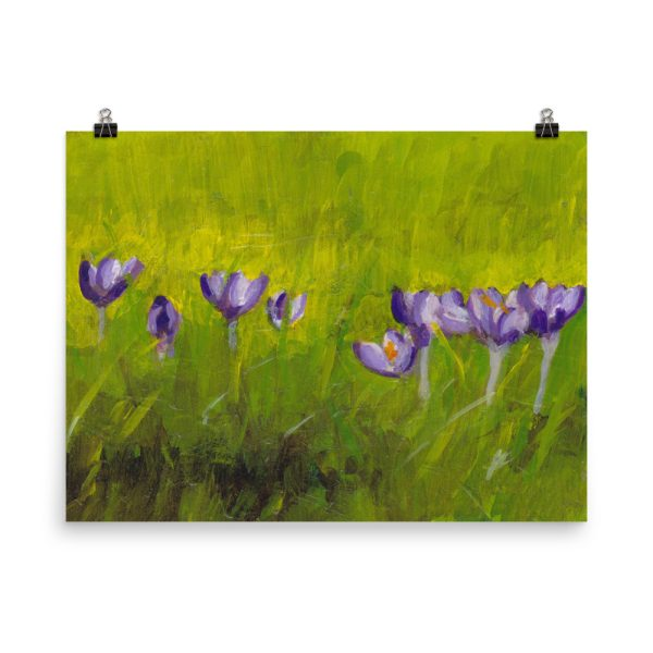Crocus Flowers in Grass Painting Poster Print Wall Art