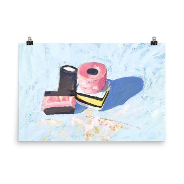 Licorice Allsorts on Blue, Still Life Painting Poster Print Wall Art